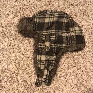 Brown Plaid Fur Trapper Hat